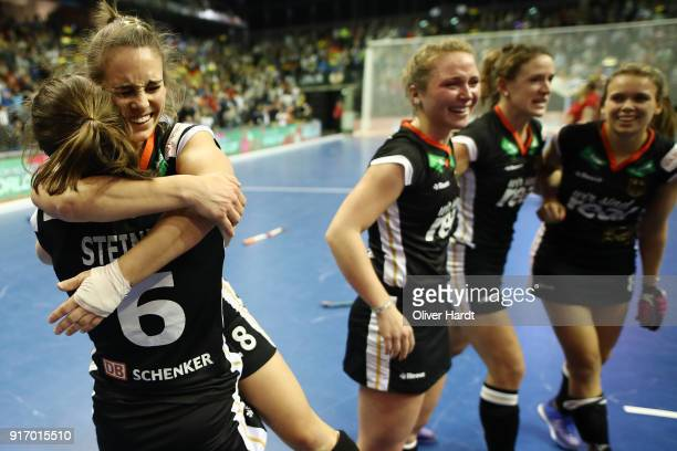 Luisa Steindor and Lisa Altenburg of Germany celebrate after the Women Gold Medal Indoor Hockey World Cup Berlin Final Day match between Germany and...