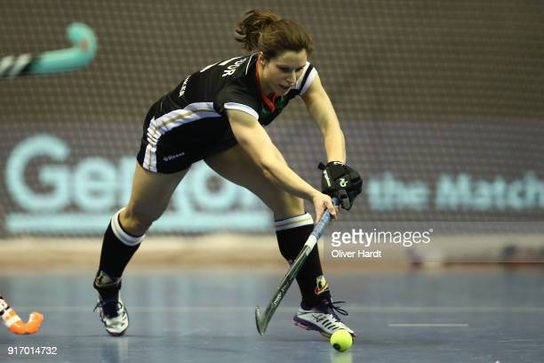Luisa Steindor of Germany in action during the Women Gold Medal Indoor Hockey World Cup Berlin Final Day match between Germany and Netherlands on...