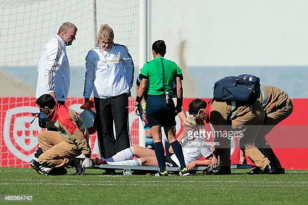 Luisa Wensing of Germany injured during the Women's Algarve Cup match between Germany and China on March 6 2015 in Vila Real de Santo Antonio Portugal
