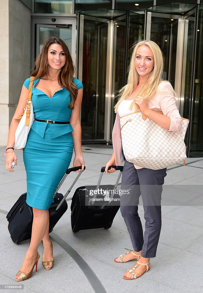 Luisa Zissman and Leah Totton finalists in the apprentice sighted at BBC Radio on July 12, 2013 in London, England.