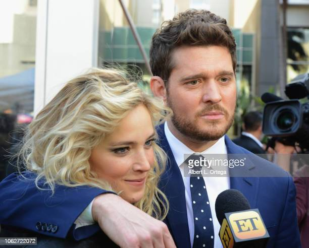 Luisana Lopilato and Michael Bublé pose at the Star Ceremony On The Hollywood Walk Of Fame held on November 16 2018 in Hollywood California