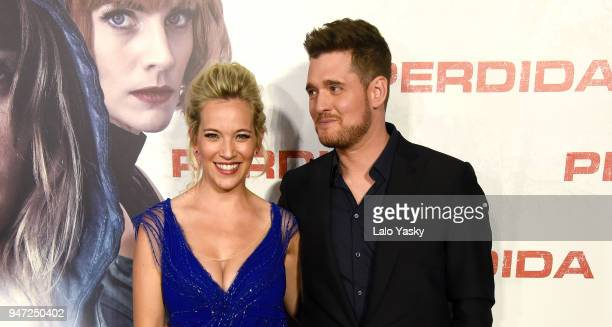 Luisana Lopilato and Michael Buble attend the premiere of 'Perdidas' at the Hoyts Dot Cinemas on April 16 2018 in Buenos Aires Argentina