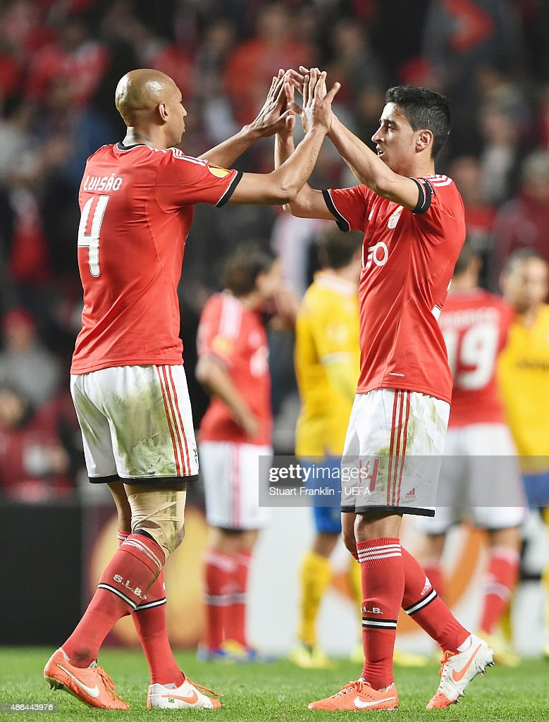 Luisao and Andre Almeida of Benfica celebrate following their team's victory during the UEFA Europa League Semi Final first leg match between SL Benfica andJuventus at Estadio da Luz on April 24, 2014 in Lisbon, Portugal.