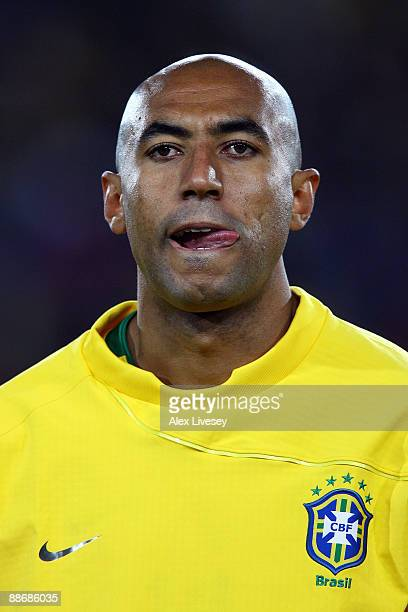 Luisao of Brazil looks on prior to the FIFA Confederations Cup Semi Final match beween Brazil and South Africa at Ellis Park on June 25 2009 in...