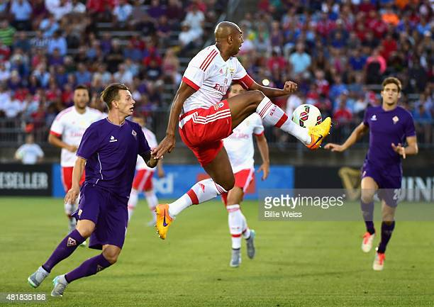 Luisao of FS Benfica traps the ball during the first half of an International Champions Cup 2015 match against ACF Fiorentina at Rentschler Field on...
