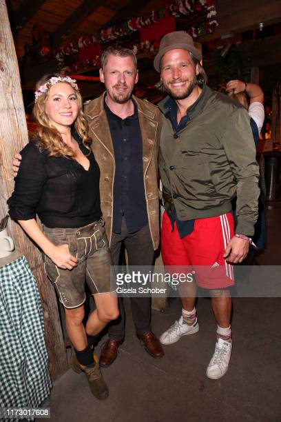 Luise Baehr Martin Gruber and Sebastian Stroebel during the Oktoberfest 2019 at Kaeferschaenke beer tent Theresienwiese on October 1 2019 in Munich...