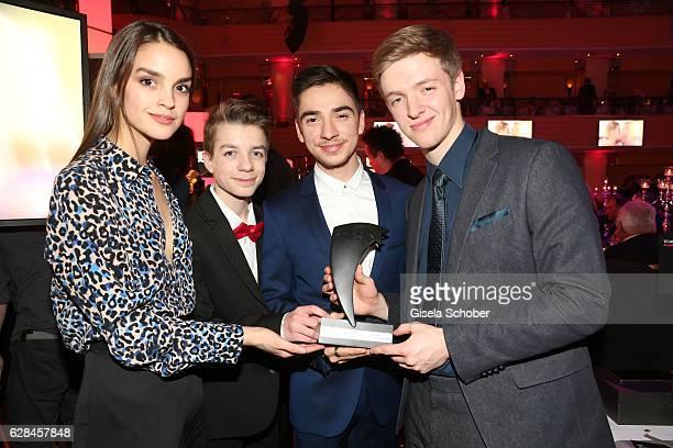 Luise Befort, Nick Julius Schuck,Ivo Kortland and Timur Bartels with award , Club der roten Baender , during the 10th Audi Generation Award 2016 at...