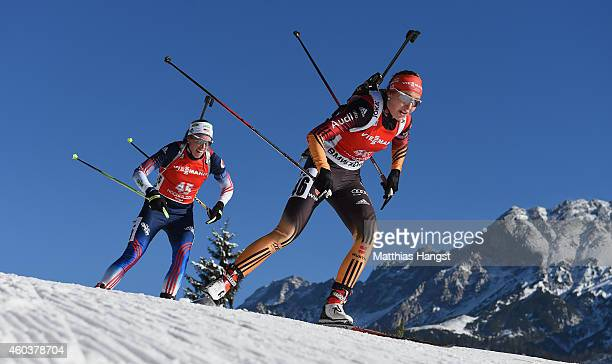 Luise Kummer of Germany competes during the women's 75 km sprint event during the IBU Biathlon World Cup on December 12 2014 in Hochfilzen Austria