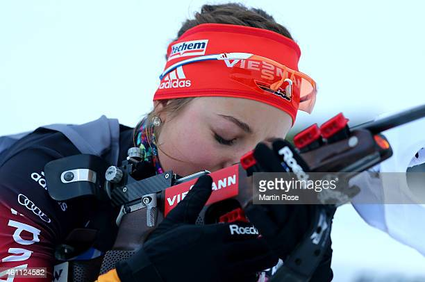 Luise Kummer of Germany reacts during the shooting during the Women's 4x 6.0 km relay of the BMW World Cup on January 7, 2015 in Oberhof, Germany.