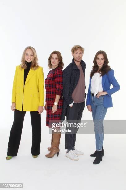 Luise von Finckh, Inka Friedrich, Jonas Lauenstein and Josefine Voss attend the photo call for the television movie series 'Sechs auf einen Streich'...