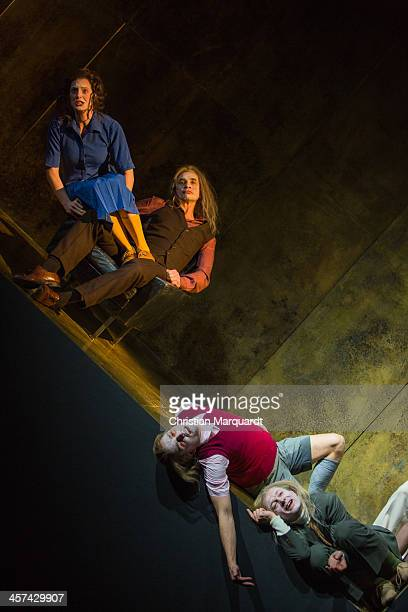 Luise Wolfram Ingo Huelsmann Franz Hartwig and Kay Bartholomaeus Schutze perform on stage during rehearsals for 'Tartuffe' at Schaubuehne Berlin on...
