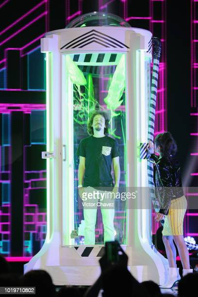 Luisito Comunica get slimed on stage during the Nickelodeon Kids' Choice Awards Mexico 2018 at Auditorio Nacional on August 19 2018 in Mexico City...