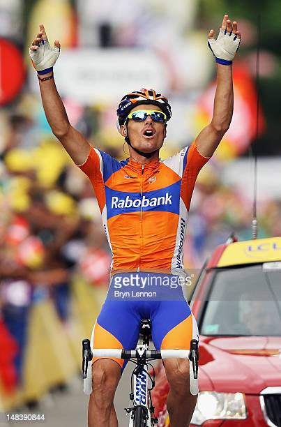 Luis-Leon Sanchez of Spain and the Rabobank Cycling Team celebrates winning stage fourteen of the 2012 Tour de France from Limoux to Foix on July 15,...