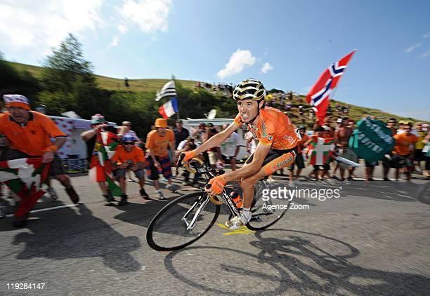 Luis-Leon Sanchez of Team Rabobank Cycling Team during Stage 14 of the Tour de France on July 16, 2011 Saint-Gaudens to Plateau de Beille, France.