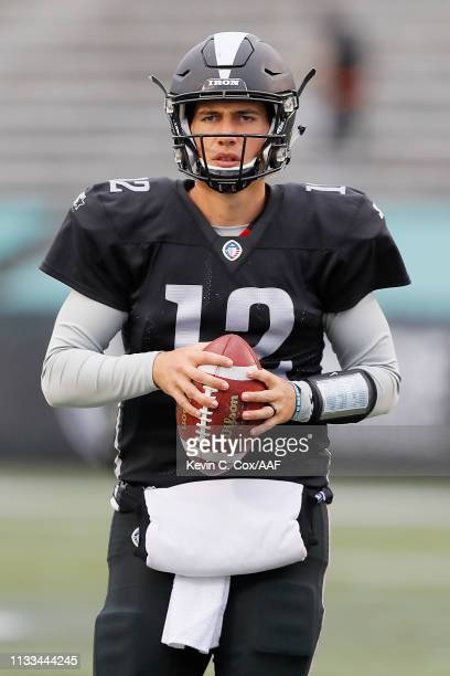 Luis Perez of the Birmingham Iron warms up before an Alliance of American Football game against the San Antonio Commanders at Legion Field on March...