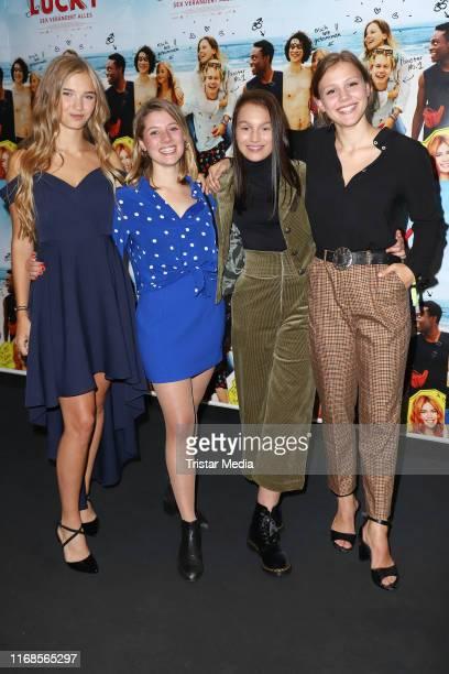 Luissa Cara Hansen Rieke Seja Lilly Terzic and EmmaKatharina Suthe attend the 'Get Lucky Sex veraendert alles' premiere at CinemaxX Dammtor movie...