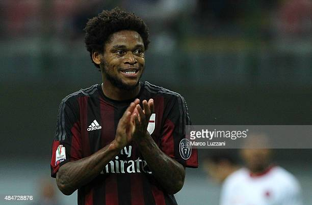 Luiz Adriano of AC Milan gestures during the TIM Cup match between AC Milan and AC Perugia at Stadio Giuseppe Meazza on August 17 2015 in Milan Italy