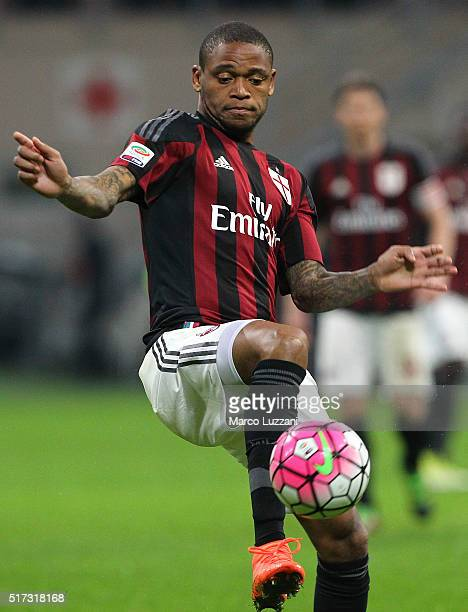 Luiz Adriano of AC Milan in action during the Serie A match between AC Milan and SS Lazio at Stadio Giuseppe Meazza on March 20 2016 in Milan Italy