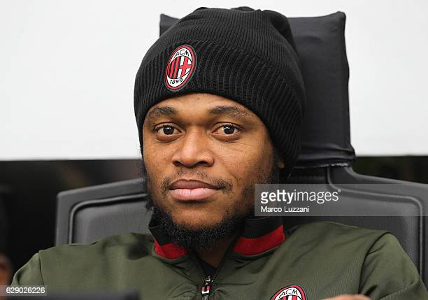 Luiz Adriano of AC Milan looks on before the Serie A match between AC Milan and FC Crotone at Stadio Giuseppe Meazza on December 4 2016 in Milan Italy
