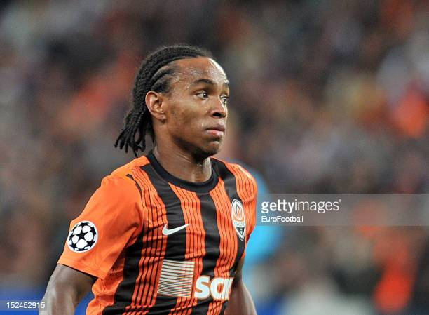 Luiz Adriano of FC Shakhtar Donetsk in action during the UEFA Champions League group stage match between FC Shakhtar Donetsk and FC Nordsjaelland at...