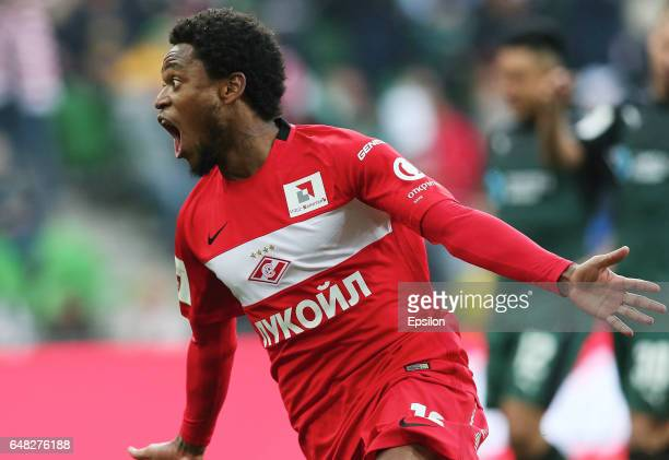 Luiz Adriano of FC Spartak Moscow celebrates after scoring a goal during the Russian Premier League match between FC Krasnodar v FC Spartak Moscow at...