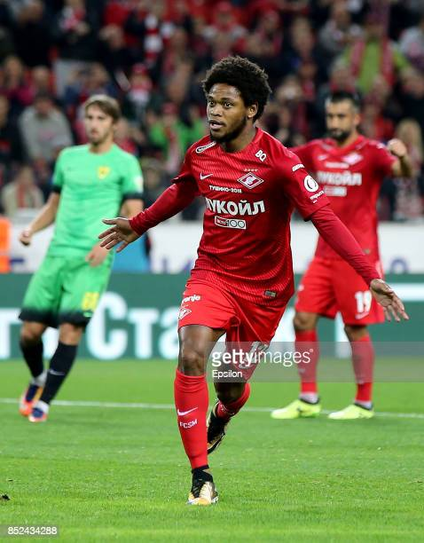 Luiz Adriano of FC Spartak Moscow celebrates after scoring a goal during the Russian Premier League match between FC Spartak Moscow and FC Anzhi...