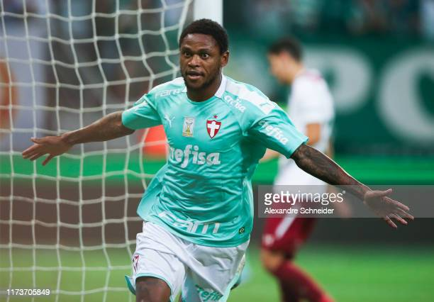 Luiz Adriano of Palmeiras celebrates after scoring the second goal of his team during the match against Fluminense for the Brasileirao Series 2019 at...