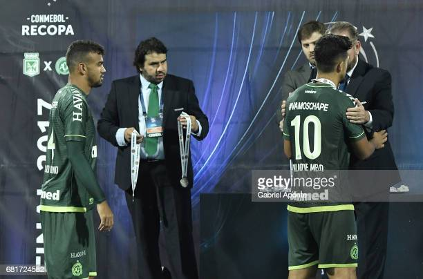 Luiz Antonio of Chapecoense receives his medal after a match between Atletico Nacional and Chapecoense as part of CONMEBOL Recopa Sudamericana 2017...
