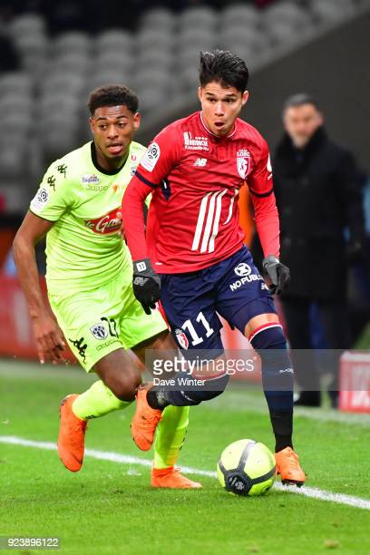 Luiz Araujo of Lille and Jeff Reine Adelaide of Angers during the Ligue 1 match between Lille OSC and Angers SCO at Stade Pierre Mauroy on February...