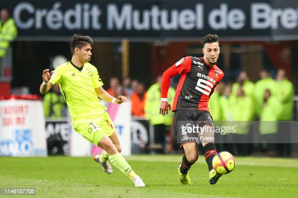Luiz Araujo of Lille and Rami Bensebaini of Rennes during the Ligue 1 match between Stade Rennais football club and LOSC Lille Association on May 24...