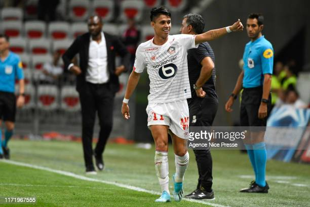 Luiz ARAUJO of Lille celebrates his goal during the Ligue 1 match between Nice and Lille on September 28, 2019 in Nice, France.