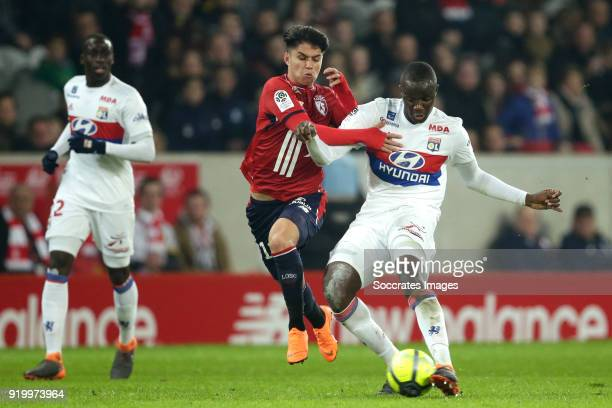Luiz Araujo of Lille Tanguy Ndombele Alvaro of Olympique Lyon during the French League 1 match between Lille v Olympique Lyon at the Stade Pierre...