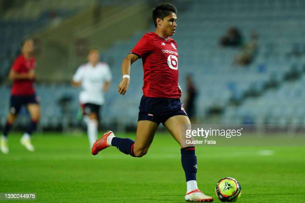 Luiz Araujo of LOSC Lille runs with the ball during the Pre-Season Friendly match between SL Benfica and Lille at Estadio Algarve on July 22, 2021 in...