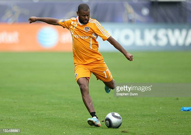 Luiz Camargo of the Houston Dynamo shoots during a training session ahead of the MLS Cup at The Home Depot Center on November 19 2011 in Carson...