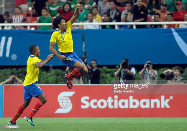 Luiz Congo of Ecuador celebrates a scored goal againist Mexico during a match as part of XVI Pan American Games at Ominilife stadium on October 19,...