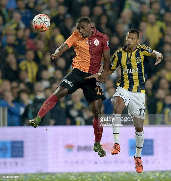 Luiz Da Cunha of Fenerbahce in action against Carole of Galatasaray during the Turkish Spor Toto Super League football match between Fenerbahce and...
