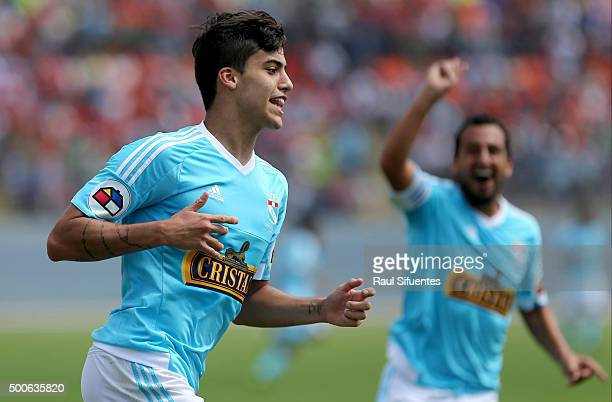 Luiz da Silva of Sporting Cristal celebrates the third goal of his team against Cesar Vallejo during a second leg semifinal match between Cesar...