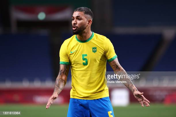 Luiz Douglas of Team Brazil reacts during the Men's Quarter Final between Brazil and Egypt on day eight of the Tokyo Olympic Games at Saitama Stadium...