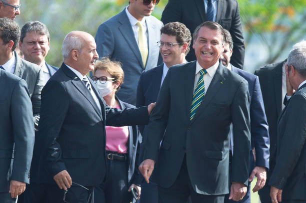 BRA: Bolsonaro Attends The Flag Raising Ceremony Amidst the Coronavirus (COVID - 19) Pandemic