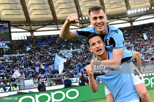 Luiz Felipe Ramos and Patric Gil Gabarron of SS Lazio celebrates a winnig game after the Serie A match between SS Lazio and Bologna FC at Stadio...