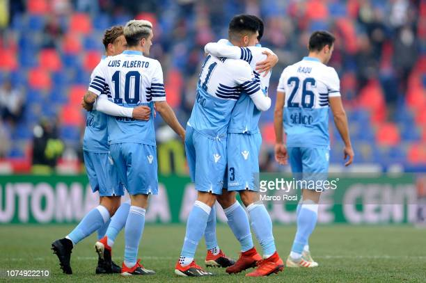 Luiz Felipe Ramos Marchi of SS Lazio celebrate a opening goal with his team mates during the Serie A match between Bologna FC and SS Lazio at Stadio...