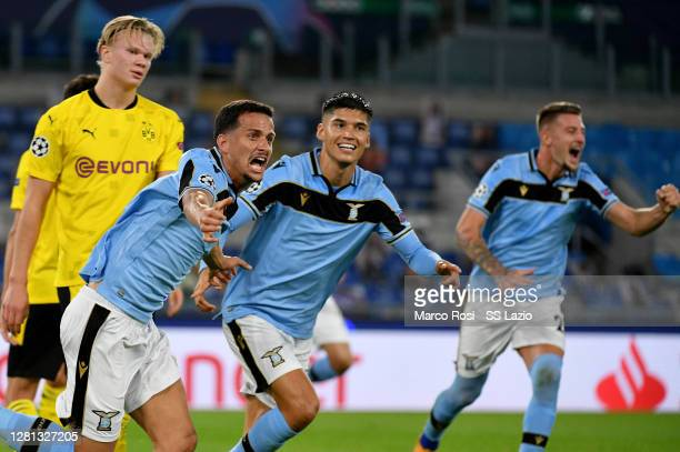 Luiz Felipe Ramos Marchi of SS Lazio celebrate a second goal with his team mates during the UEFA Champions League Group F stage match between SS...