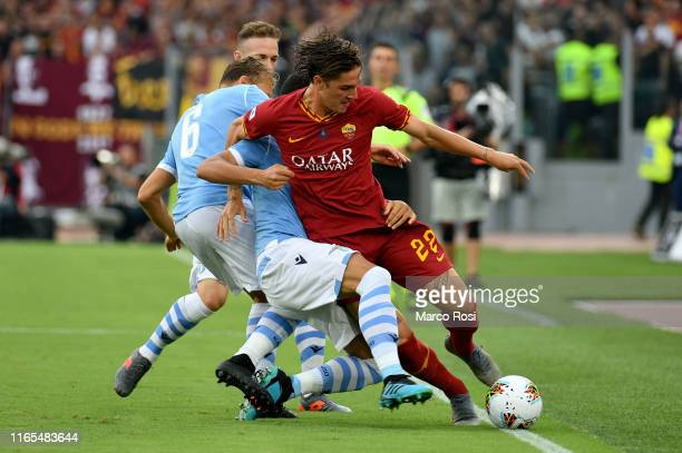 Luiz Felipe Ramos Marchi of SS Lazio compete for the ball with Nicol˜ Zaniolo of AS Roma during the Serie A match between SS Lazio and AS Roma at...