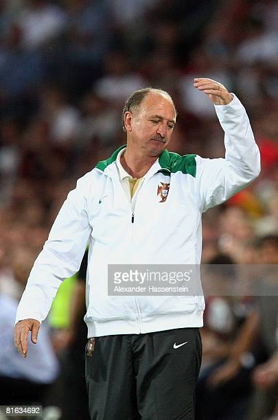 Luiz Felipe Scolari coach of Portugal gestures during the UEFA EURO 2008 Quarter Final match between Portugal and Germany at St. Jakob-Park on June...