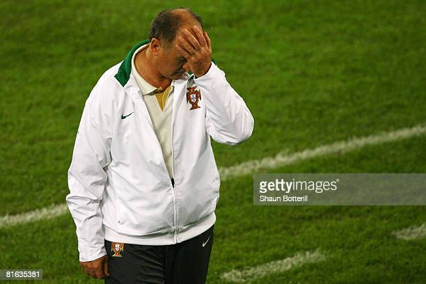 Luiz Felipe Scolari coach of Portugal looks dejected during the UEFA EURO 2008 Quarter Final match between Portugal and Germany at St. Jakob-Park on...