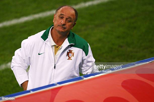 Luiz Felipe Scolari coach of Portugal looks on during the UEFA EURO 2008 Quarter Final match between Portugal and Germany at St. Jakob-Park on June...