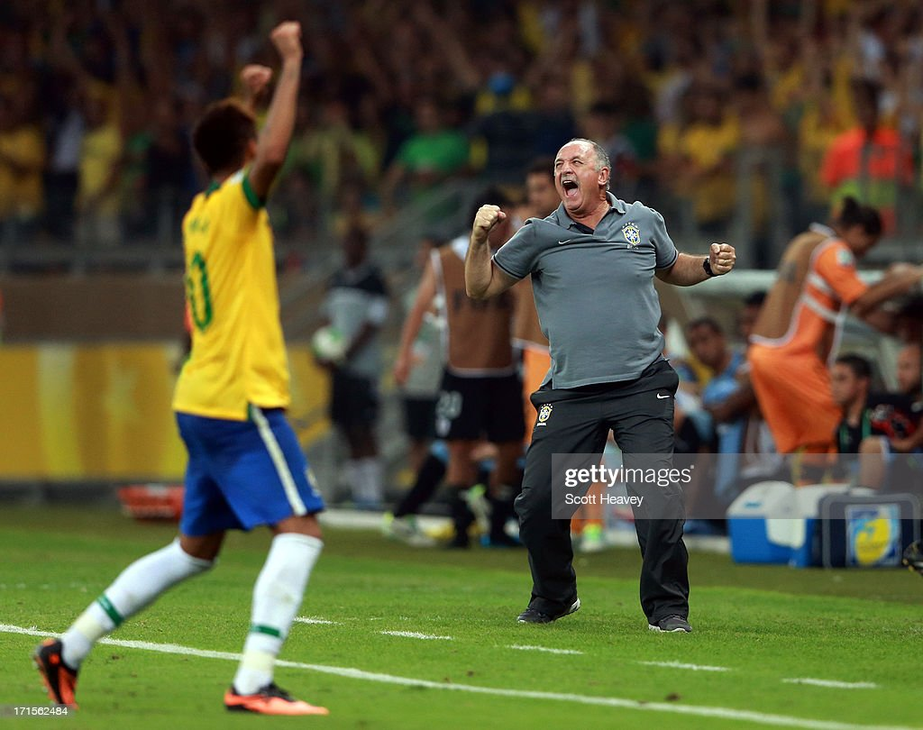 Luiz Felipe Scolari head coach of Brazil celebrates as the final whistle is blown at the end of the FIFA Confederations Cup Brazil 2013 Semi Final match between Brazil and Uruguay at Governador Magalhaes Pinto Estadio Mineirao on June 26, 2013 in Belo Horizonte, Brazil.