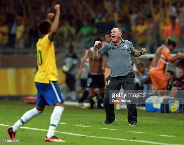 Luiz Felipe Scolari head coach of Brazil celebrates as the final whistle is blown at the end of the FIFA Confederations Cup Brazil 2013 Semi Final...