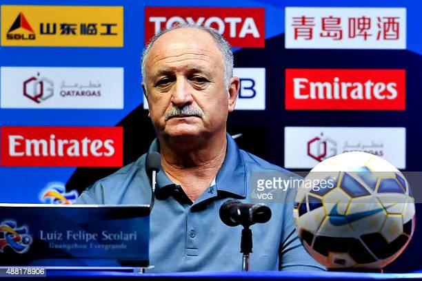 Luiz Felipe Scolari head coach of Guangzhou Evergrande attends a press conference ahead of the AFC Champions League quarterfinal football match...