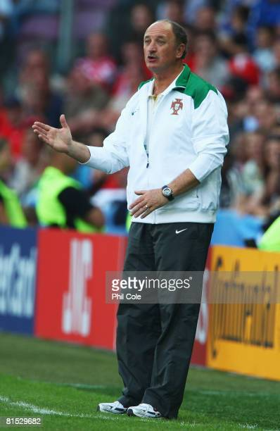 Luiz Felipe Scolari, head coach of Portugal gives instructions from the sidelines during the UEFA EURO 2008 Group A match between Czech Republic and...